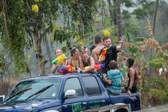 Songkran festival. KOH PHANGAN,SURATTHANI,THAILAND 13.04.2015:Songkran festival is favor in foreign he come to splash water war and cerebrate in Thai New Year Stock Photo