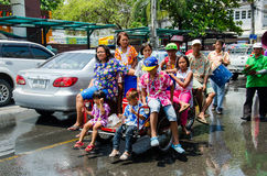 Songkran Festival 2015. LOPBURI - APRIL 13: Songkran Festival is celebrated in Thailand as the traditional New Year's at Banmi district on April 13, 2015 in Royalty Free Stock Image