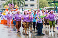 Songkran Festival 2015. LOPBURI - APRIL 13: Songkran Festival is celebrated in Thailand as the traditional New Year's at Banmi district on April 13, 2015 in Royalty Free Stock Photos