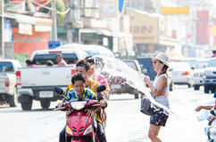Songkran Festival 2015. LOPBURI - APRIL 13: Songkran Festival is celebrated in Thailand as the traditional New Year's at Banmi district on April 13, 2015 in Stock Photo