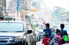 Songkran Festival 2015. LOPBURI - APRIL 13: Songkran Festival is celebrated in Thailand as the traditional New Year's at Banmi district on April 13, 2015 in Royalty Free Stock Photography