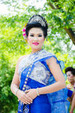 Songkran Festival 2015. LOPBURI - APRIL 13: Unidentified model in period dress on Songkran Festival is celebrated in Thailand as the traditional New Year's at Royalty Free Stock Photography