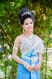 Songkran Festival 2015. LOPBURI - APRIL 13: Unidentified model in period dress on Songkran Festival is celebrated in Thailand as the traditional New Year's at Stock Photo
