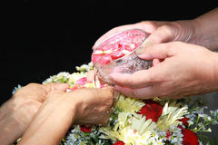 Songkran festival. Is new year in Thailand, water blessing ceremony of adults Stock Photo