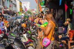 Songkran festival på April 14, 2015 Chiangmai, Thailand Fotografering för Bildbyråer