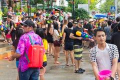 Songkran festival på April 14, 2015 Chiangmai, Thailand Arkivbilder