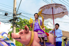 Songkran Festival Parade. BANGKOK, THAILAND - APRIL 14: Songkran Festival in Bangkok, Thailand on October 14, 2015. Participants in a Songkran Festival parade stock image