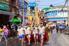 Songkran Festival Parade Traditional culture of Salung Luang Procession Lanna style in Lampang province northern of Thailand. LAMPANG, THAILAND - 12 APRIL 2017 Royalty Free Stock Photos