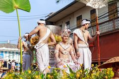 Songkran Festival Parade Traditional culture of Salung Luang Procession Lanna style in Lampang province northern of Thailand. LAMPANG, THAILAND - 12 APRIL 2017 stock image