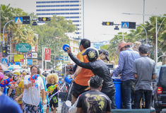 Songkran festival - People and traveler to play water splash on streets of the Pattaya city. Thailand, Stock Photography