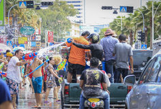 Songkran festival - People and traveler to play water splash on streets of the Pattaya city. Thailand,. PATTAYA CITY , THAILAND - 2014 APRIL 19: Celebration of royalty free stock images