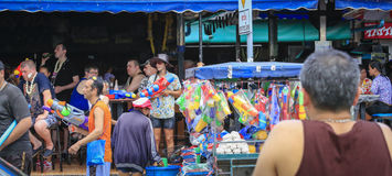 Songkran festival - People and traveler to play water splash on streets of the Pattaya city. Thailand,. PATTAYA CITY , THAILAND - 2014 APRIL 19: Celebration of stock photos