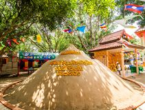 Songkran festival. SAVANNAKHET,LAOS-APRIL 16,2018 : Buddhist building sand castle in the temple to celebrate  Songkran festival in Savannakhet,Laos on April 16 Royalty Free Stock Photography