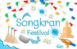 Songkran Festival sign in Thailand. Songkran Festival sign of Thailand, illustration background Royalty Free Stock Photography
