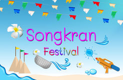 Songkran Festival sign. Of Thailand on white background, Thai New Year Stock Photos