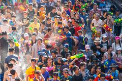 The Songkran festival in Silom, Bangkok. Celebrate Thai Traditional New Year. stock image