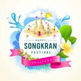 Songkran Festival summer of Thailand. Design background,  illustration Stock Image