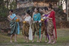 Songkran festival. Festival Songkran, Thai girls and laos girls splashing water during festival Songkran festival,Water blessing ceremony of adults stock images
