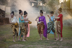 Songkran festival. Festival Songkran, Thai girls and laos girls splashing water during festival Songkran festival,Water blessing ceremony of adults Royalty Free Stock Photo