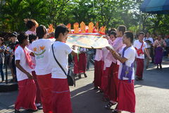 Songkran Festival in the Thai-Mon style. Samut Prakan,Thailand-APRIL 13,2017: Songkran Festival in the Thai-Mon style, featuring a magnificent parade, and see a Stock Photos