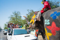 Songkran Festival in Thailand. AYUTTHAYA, THAILAND - APR 14:  Revelers and elephants join in water splashing during Songkran Festival on Apr 14, 2015 in Stock Photography
