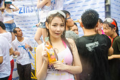 Songkran Festival in Thailand. BANGKOK - APRIL 13: Songkran Festival is celebrated in Thailand as the traditional New Year's at Khao San Road on April 13, 2014 Royalty Free Stock Photos