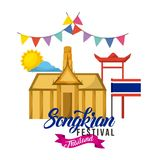 Songkran festival thailand building flag pennant sun day. Vector illustration Stock Images