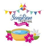 Songkran festival thailand greeting card decoration. Vector illustration Stock Photography