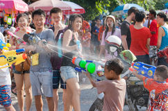 Songkran Festival Thailand happiness. Bangkok - April 13: Thailand and the foreign visitors of all ages a fun water play festival tradition Khao San Road Stock Image