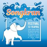 Songkran Festival in Thailand. Illustration for the holiday. New Year`s Day. The elephant pours from the trunk. Space for text. It can be used for decoration Royalty Free Stock Photography