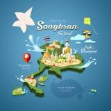 Songkran-Festival in Thailand mit Drachenpagodensand Lizenzfreie Stockbilder