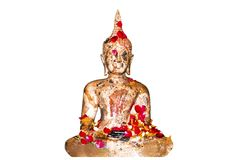 Songkran festival in Thailand,It use the water pouring to buddha. Statue and older.Cost-up,Clipping path Stock Image