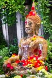Songkran festival in Thailand,the water pouring to golden buddha. Statue.Cost-up,Clipping path Stock Photo