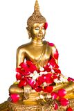 Songkran festival in Thailand,the water pouring to golden Buddha,Clipping path. Songkran festival in Thailand,the water pouring to golden Buddha statue.Cost-up Stock Photo