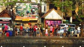 Songkran festival - vattenfestival stock video