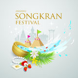 Songkran festival water splash of Thailand. Design background, vector illustration Royalty Free Stock Images