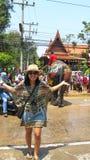 Songkran festiwal świętuje z słoniami w Ayutthaya Fotografia Royalty Free