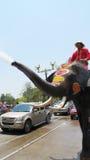 Songkran festiwal świętuje z słoniami w Ayutthaya Zdjęcie Stock