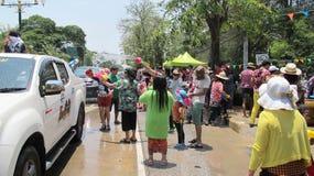 Songkran festiwal świętuje z słoniami w Ayutthaya Zdjęcie Royalty Free