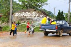Songkran festiwal Tajlandia w wsi zdjęcia stock