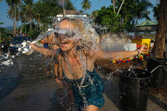 Songkran. Joins celebrations of the Thai New Year or Songkran in Ko Phangan Royalty Free Stock Photo