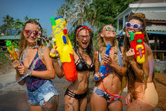 Songkran. Ko Phangan - APR 16, 2018: people joins celebrations of the Thai New Year or Songkran in Ko Phangan on Apr 13, 2016 Royalty Free Stock Images