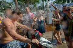 Songkran. Ko Phangan - APR 16, 2018: people joins celebrations of the Thai New Year or Songkran in Ko Phangan on Apr 13, 2016 Stock Image