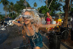 Songkran. Ko Phangan - APR 16, 2018: people joins celebrations of the Thai New Year or Songkran in Ko Phangan on Apr 13, 2016 Royalty Free Stock Photography