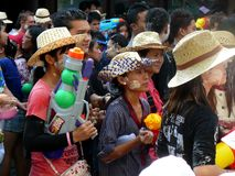 The Songkran is a New Year celebration in Thailand and begins April 12 and last thru April 16. The Thai people show respect by off. Ering  food to the Buddhist stock photo