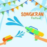 Songkran o festival dell'acqua della Tailandia Illustrazione con le pistole a acqua ed acqua della spruzzata illustrazione di stock