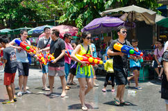 Songkran partygoers. Bangkok, Thailand, 14 April 2015. A group of young partygoers getting ready to join the Songkran street party. The annual Songkran water Stock Images