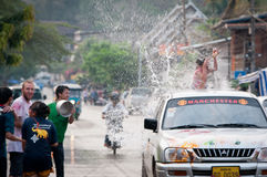 Songkran. The photo is happy songkran in Lao Royalty Free Stock Image