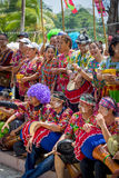 Songkran. PHUKET, THAILAND - APRIL 13, 2016: Unidentified traditionally dressed people at the street side preparing to Songkran Festival, celebrated in a Royalty Free Stock Images