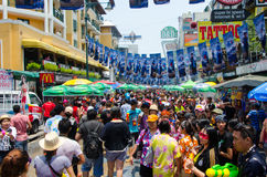 Songkran street party. Bangkok, Thailand, 14 April 2015. Bangkok's backpacker's haven Khao San Road is packed for the Songkran Street Party. The annual Songkran royalty free stock image